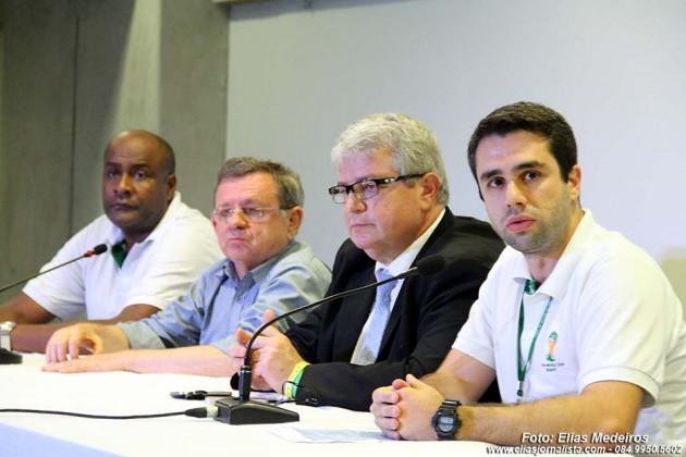 Coletiva de Imprensa: Tiago Paz, gerente-geral de integração operacional do Comitê Organizador Local (COL), disse que a Arena das Dunas foi aprovada com louvor.  entrevista coletiva de Imprensa, Comitê Organizador Local da Copa do Mundo (COL),