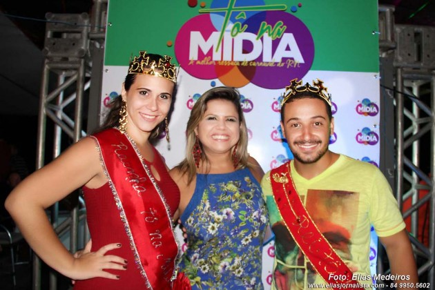 A jornalista Elaine Vládia organizadora do Tô na Mídia com a Rainha Ana Alyne Cunha (TV Assembleia) e Diego Negrelos (TV Ponta Negra)Alyne