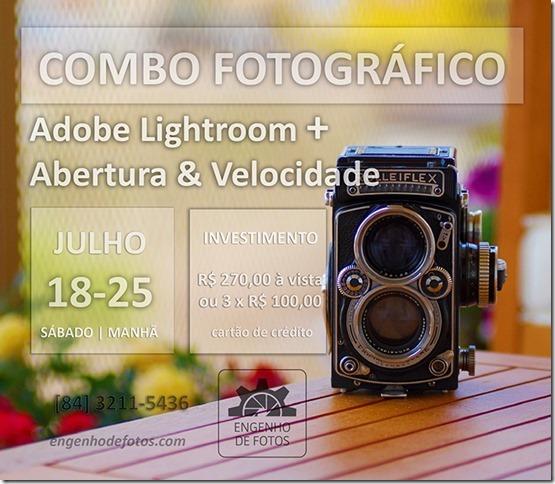 Combo Fotográfico - Curso de Lightroom Básico + curso de Abertura & Velocidade.