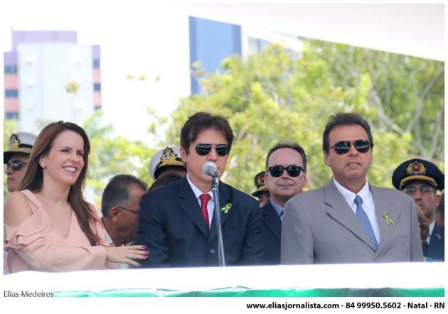 O governador Robinson Faria participou nesta segunda-feira (07) do desfile cívico-militar em homenagem aos 193 anos da independência do Brasil. Na Praça Cívica, no bairro do Tirol em Natal.