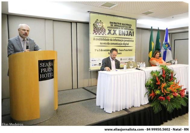O presidente da Federação Nacional dos Jornalistas, Celso Schröder, particpou da abertura.