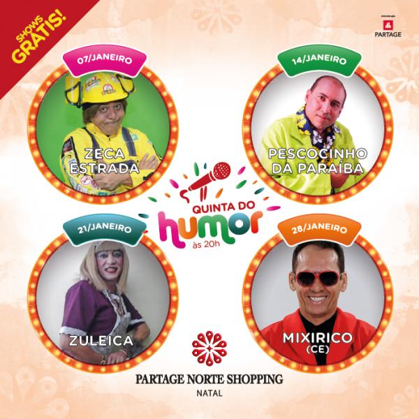 Partage Norte Shopping anuncia programação de Janeiro da Quinta do Humor.