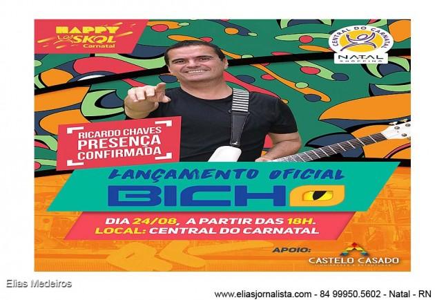 Quarta (24) tem lançamento do bloco Bicho e Happy Skol com Ricardo Chaves na Central do Carnatal.