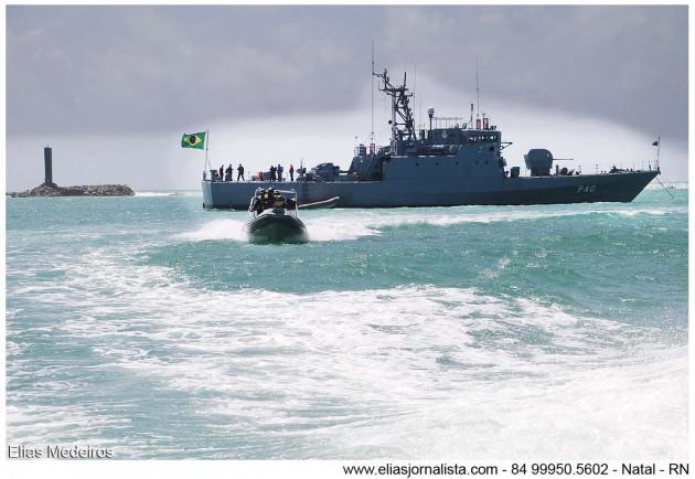 """Marinha do Brasil intensifica patrulha no Rio Potengi durante """"Operação Potiguar""""."""