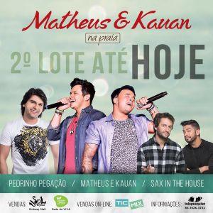 """Matheus e Kauan apresentam sucessos da turnê """"Na Praia"""" pela primeira vez em Natal."""