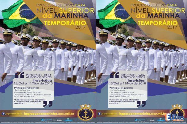 Marinha oferece 450 vagas de nível superior com salário inicial de R$ 8 mil.