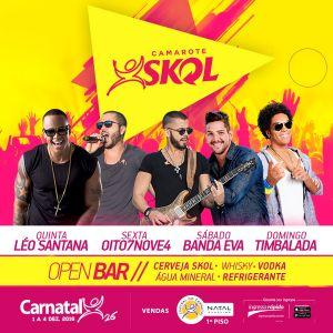 Leo Santana, Oito7Nove4, Eva e Timbalada são atrações confirmadas do Camarote Skol 2016.