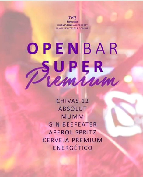 "White Party ""Summer Dream"" terá Open Bar Superpremium."
