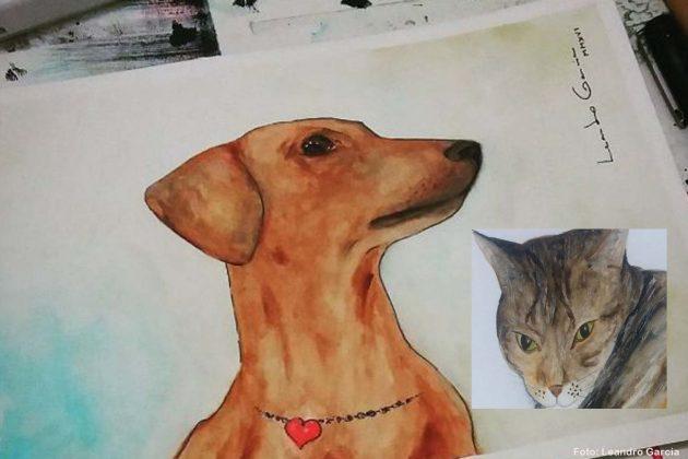 Arte Solidária: Em ação do GACC, artista pinta aquarelas de pets.