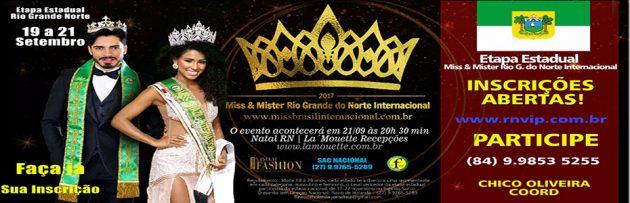 Confirmada a data do Miss e Mister Rio Grande do Norte Internacional 2017.