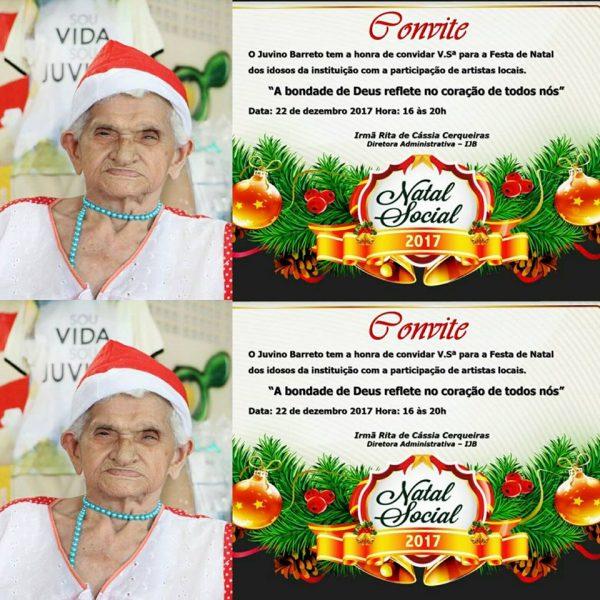 Festa de Natal dos idosos do Juvino Barrreto será dia 22 de dezembro de 2017.