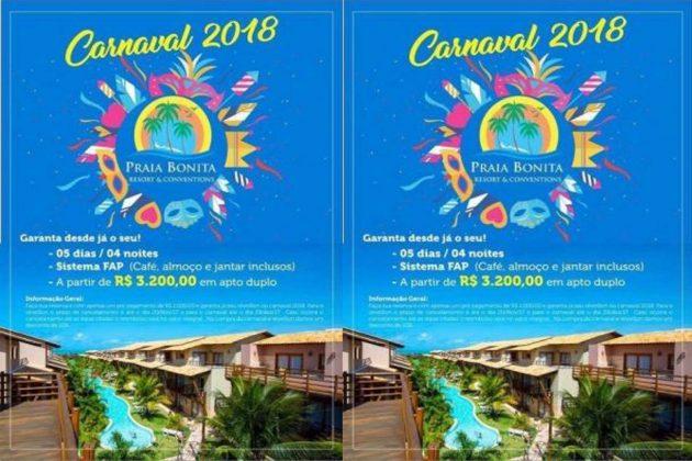 Praia Bonita oferece pacote especial para o Carnaval de 2018.