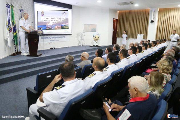 Em seu discurso de boas vindas o Comandante do 3º Distrito Naval, Vice-Almirante Afrânio de Paiva Moreira Júnior, expressou a satisfação de estar entre os Soamarinos,